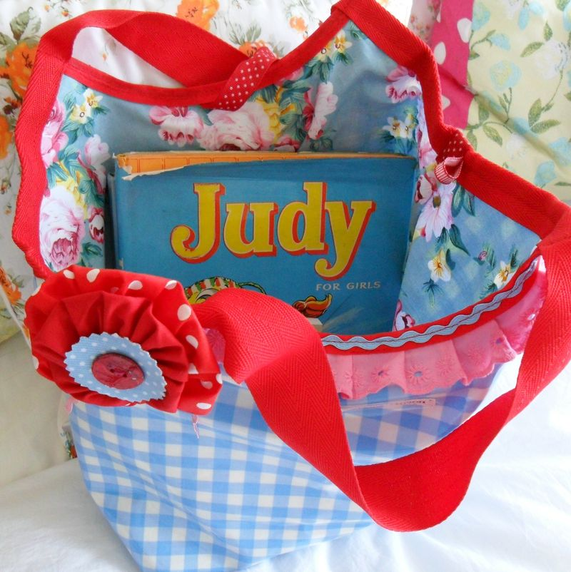 Oilcloth Blue Gingham Tote Bag