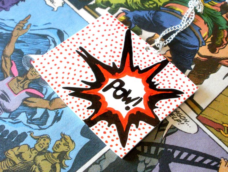 Comic book pow pop art spotty necklace
