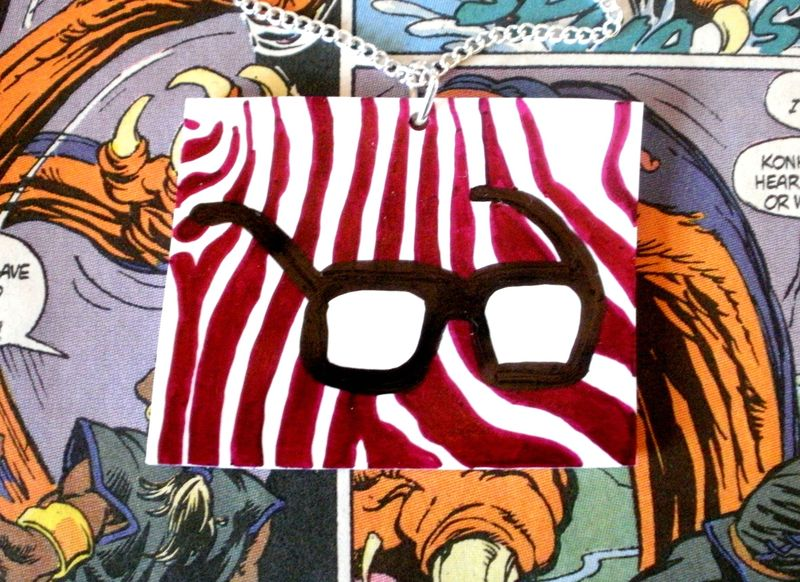 I heart geeks glasses zebra print pink necklace